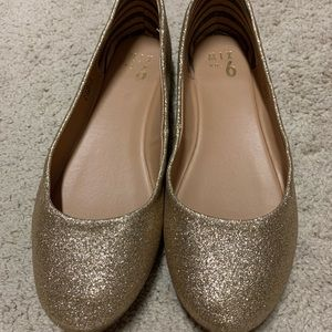 Gold glitter flats - holiday sparkle shoes